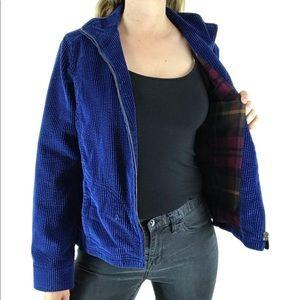 L. L. BEAN Blue Corduroy Full Zip Jacket S